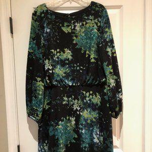 London Times knit dress in greens 18W